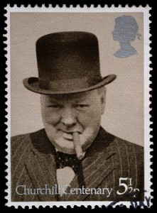 Churchill Smoking a Cigar Stamp