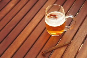 beer and cigar